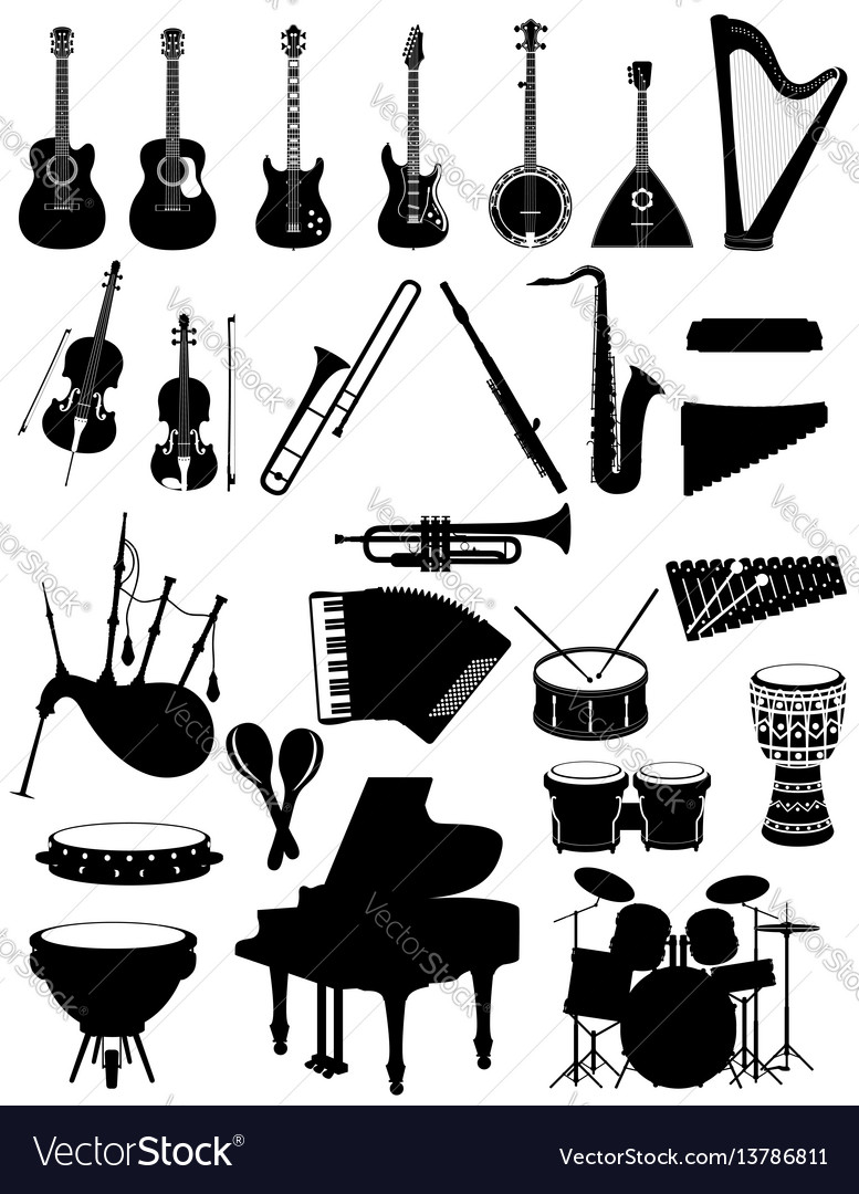 Musical instruments set icons black silhouette