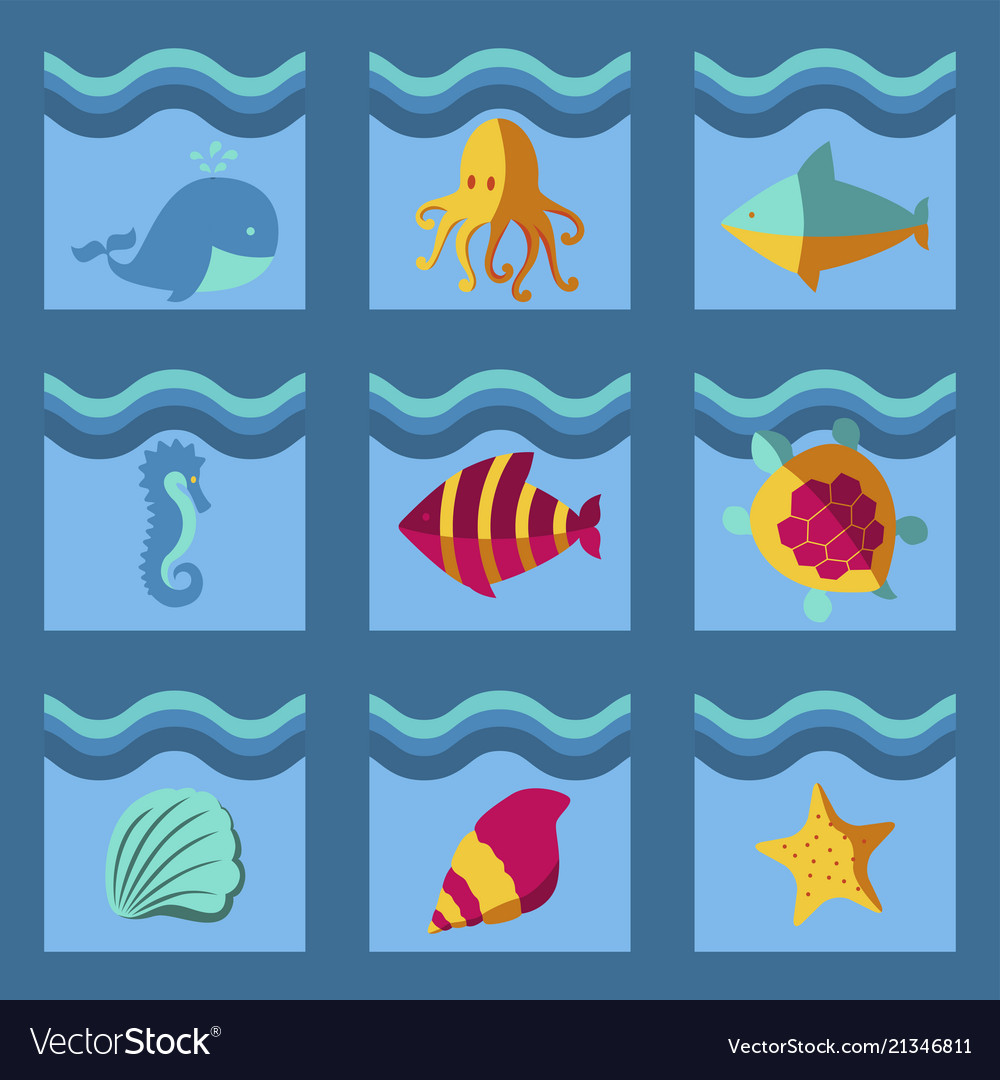 Nautical animal elements wave ocean sea blue