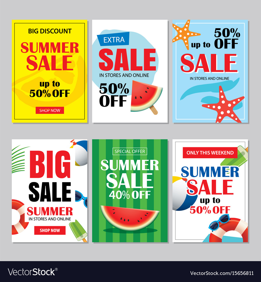 427b1bd2c Summer sale emails and banners mobile templates Vector Image
