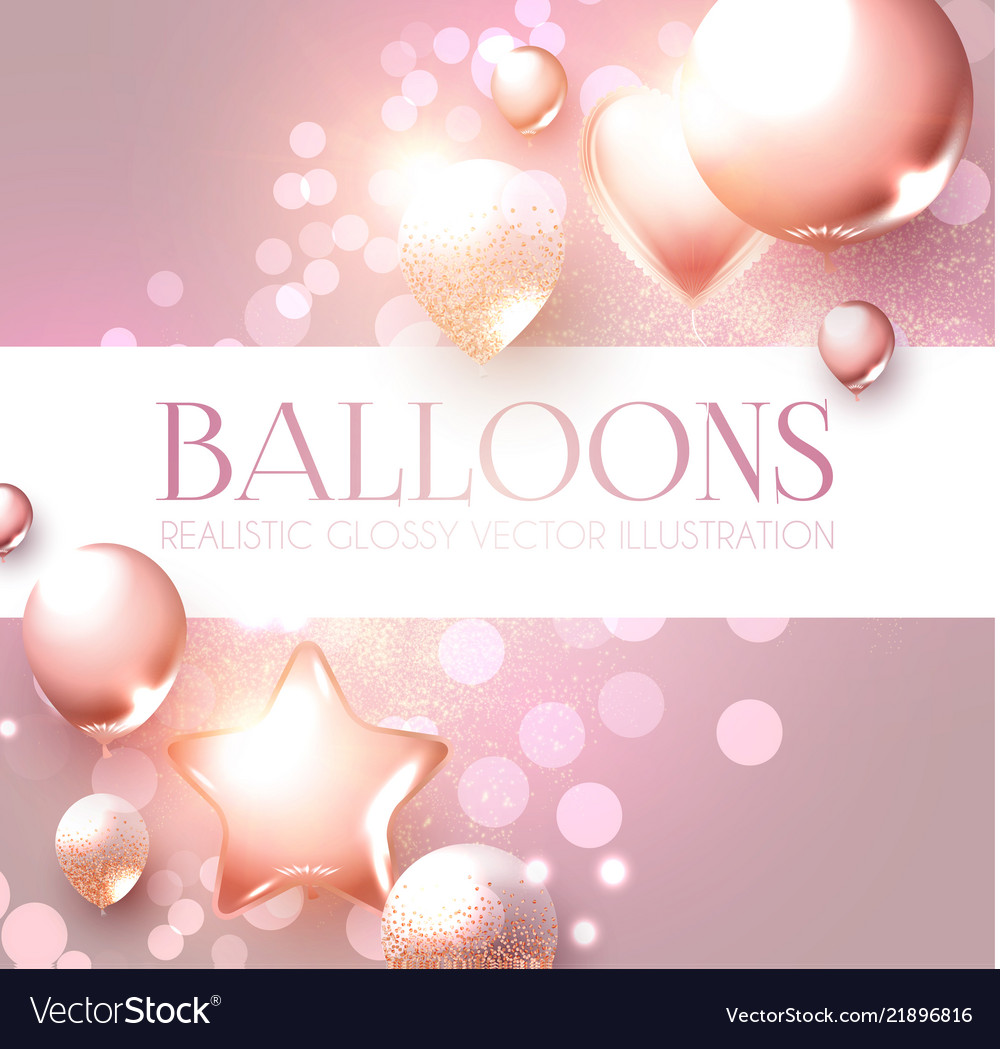 Elegant pink flying balloons with bokeh effect vector