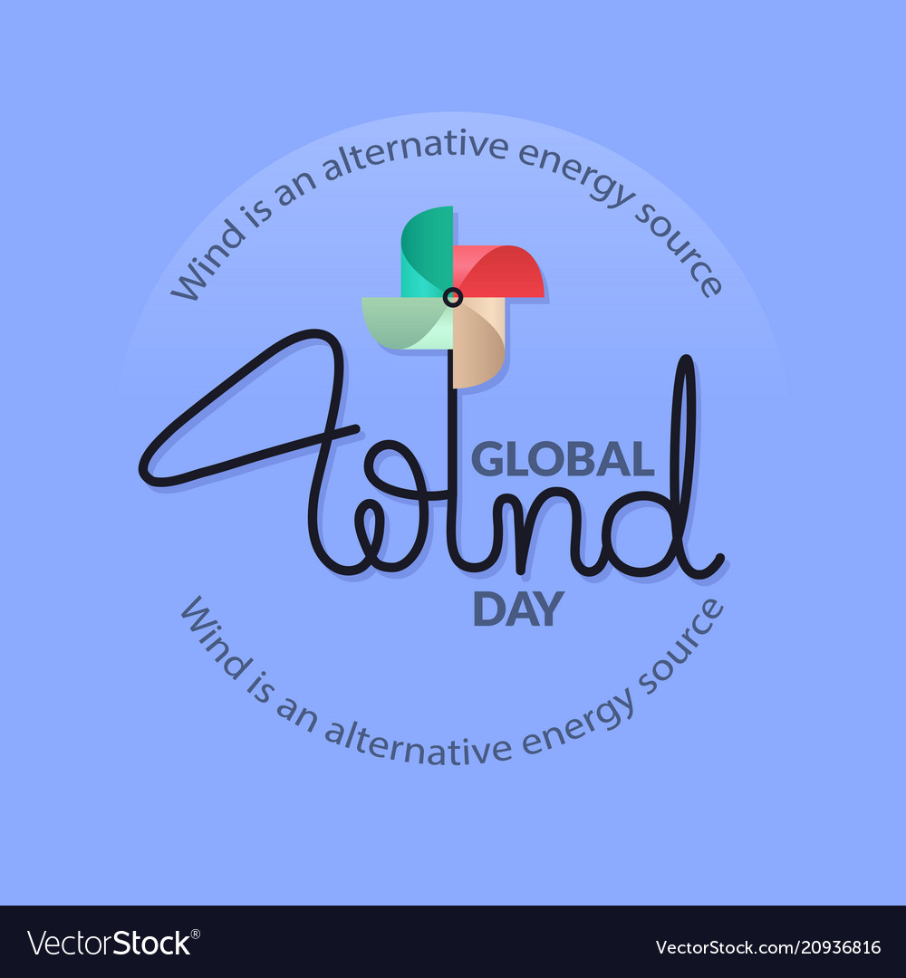 Global wind day card lettering with colorful
