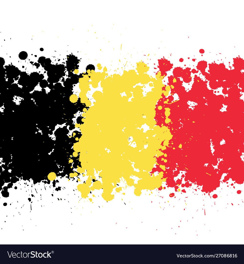 Grunge blots belgium flag background