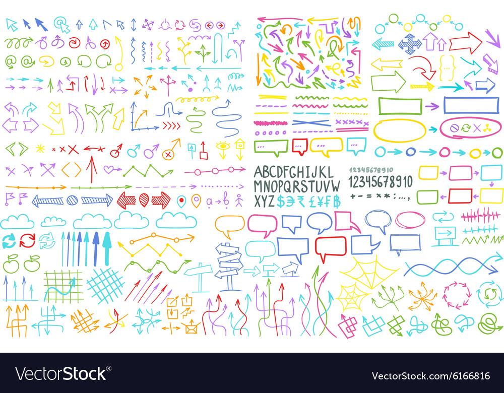 Hand draw arrow set elements vector image