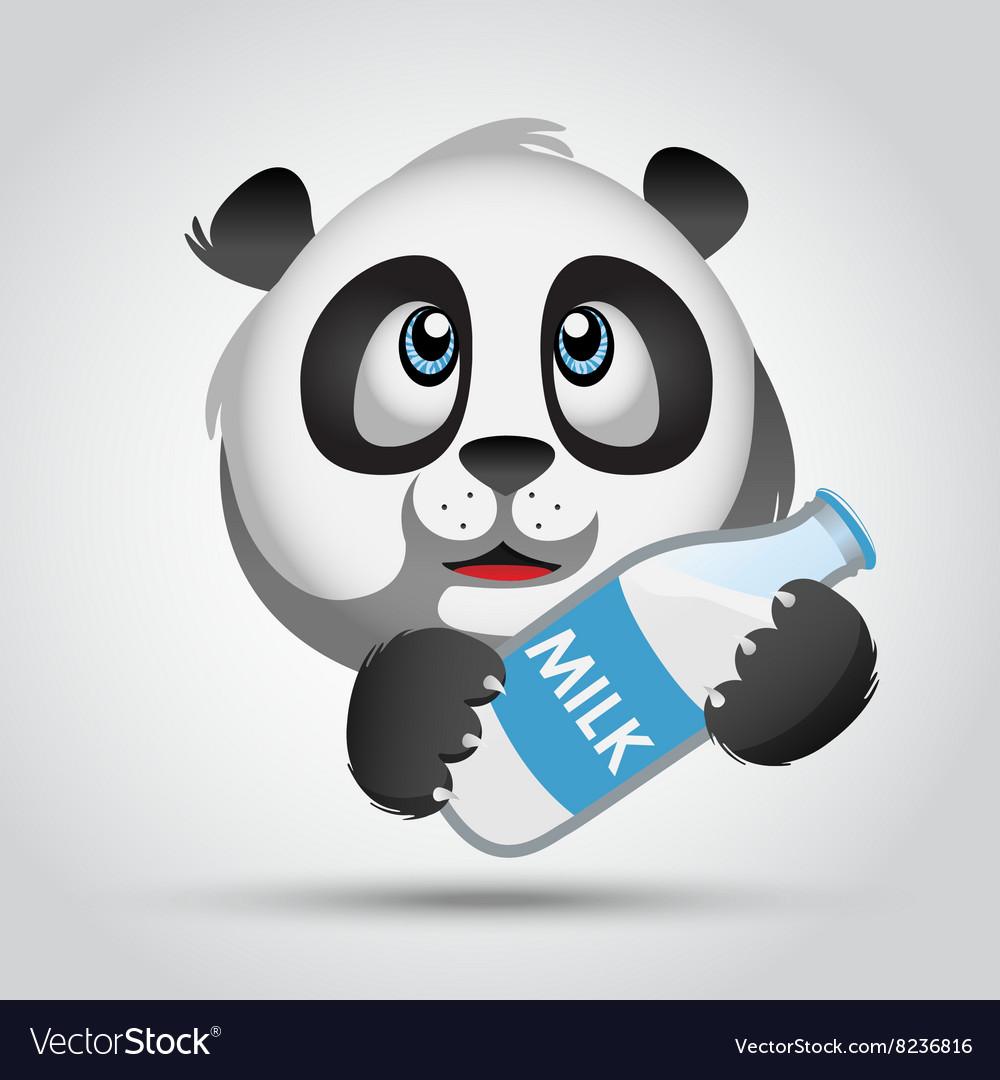 Icon panda with milk