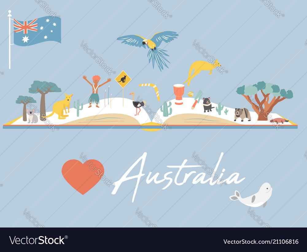 Map Of Australia Landmarks.Map Of Australia With Landmarks And Wildlife