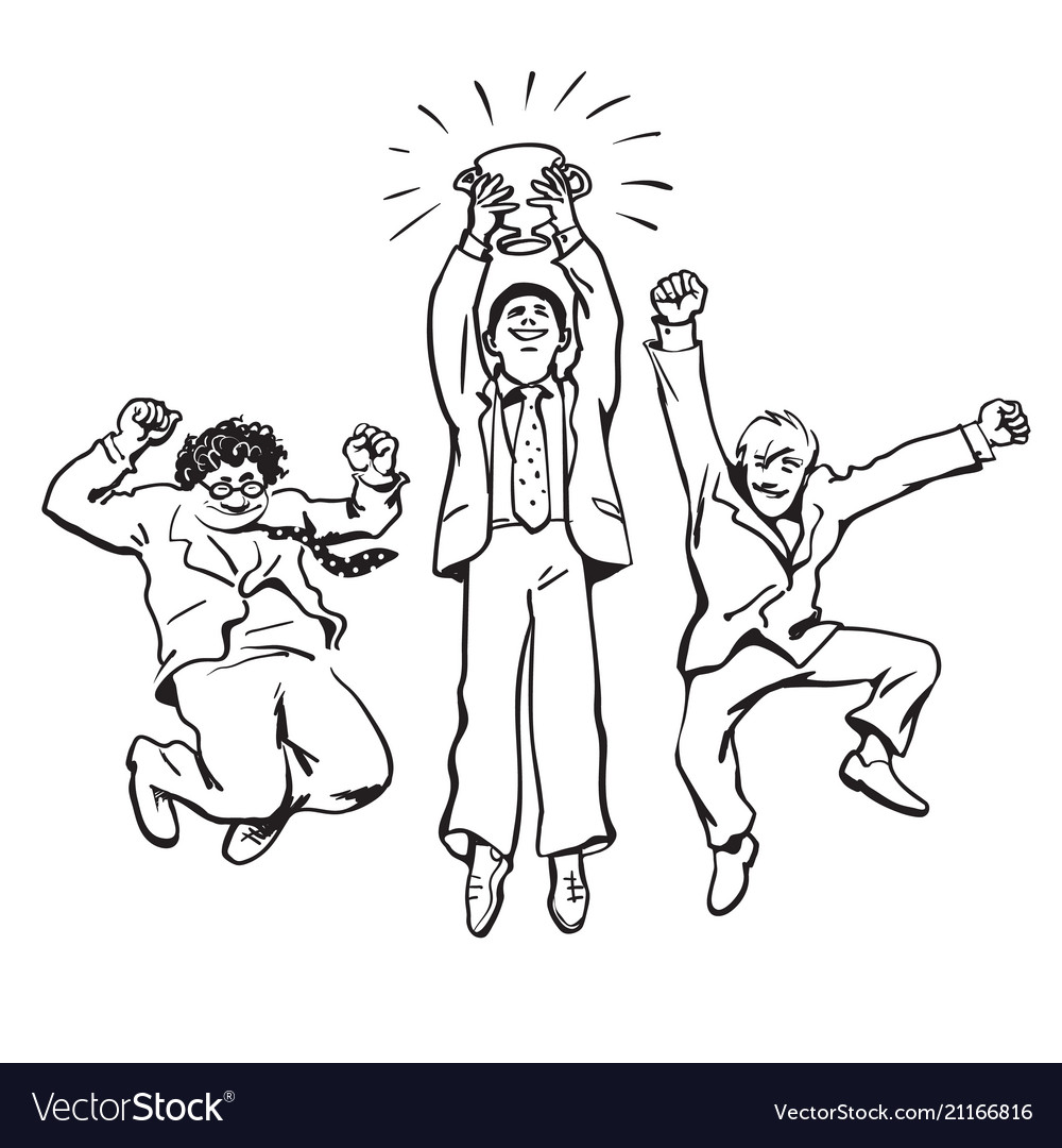 Three businessmen jumping for joy holding up