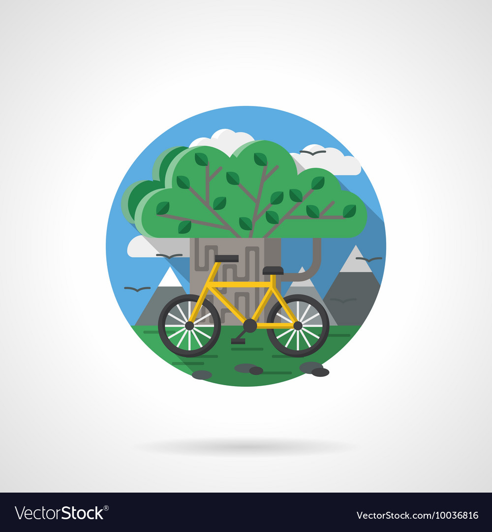 Tree and bike color detailed icon