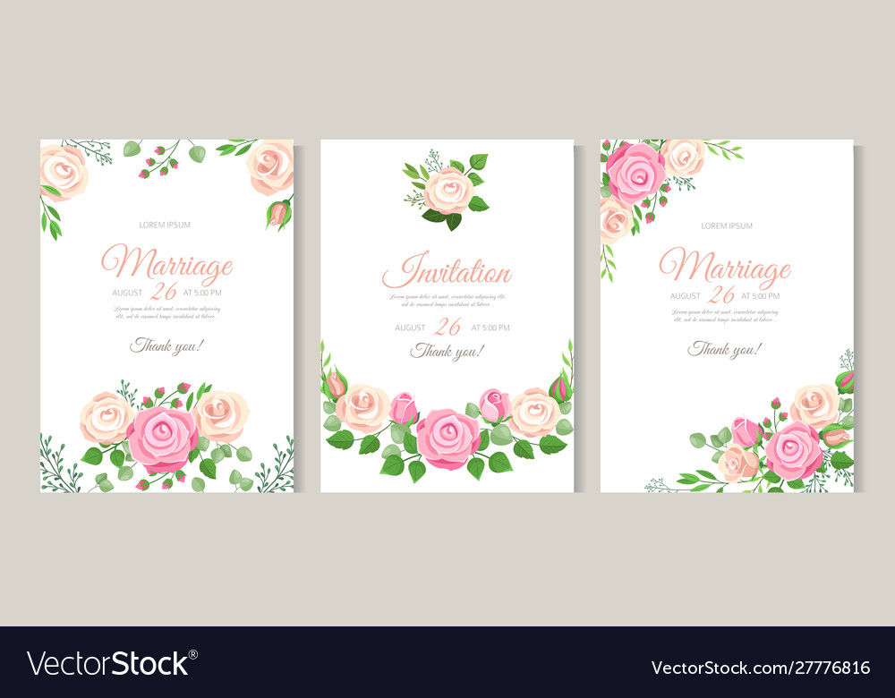 Wedding card with roses red white and pink roses