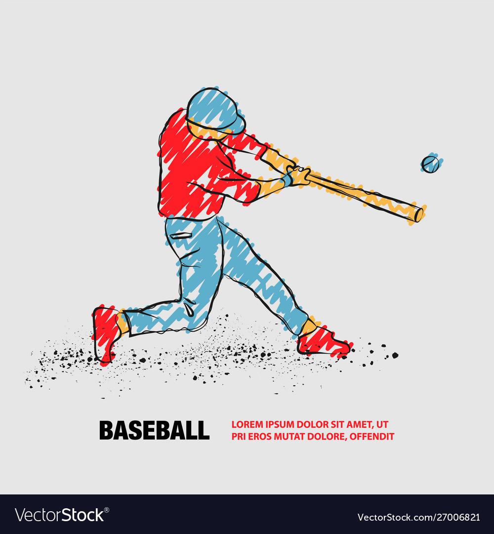 Baseball player hit ball outline