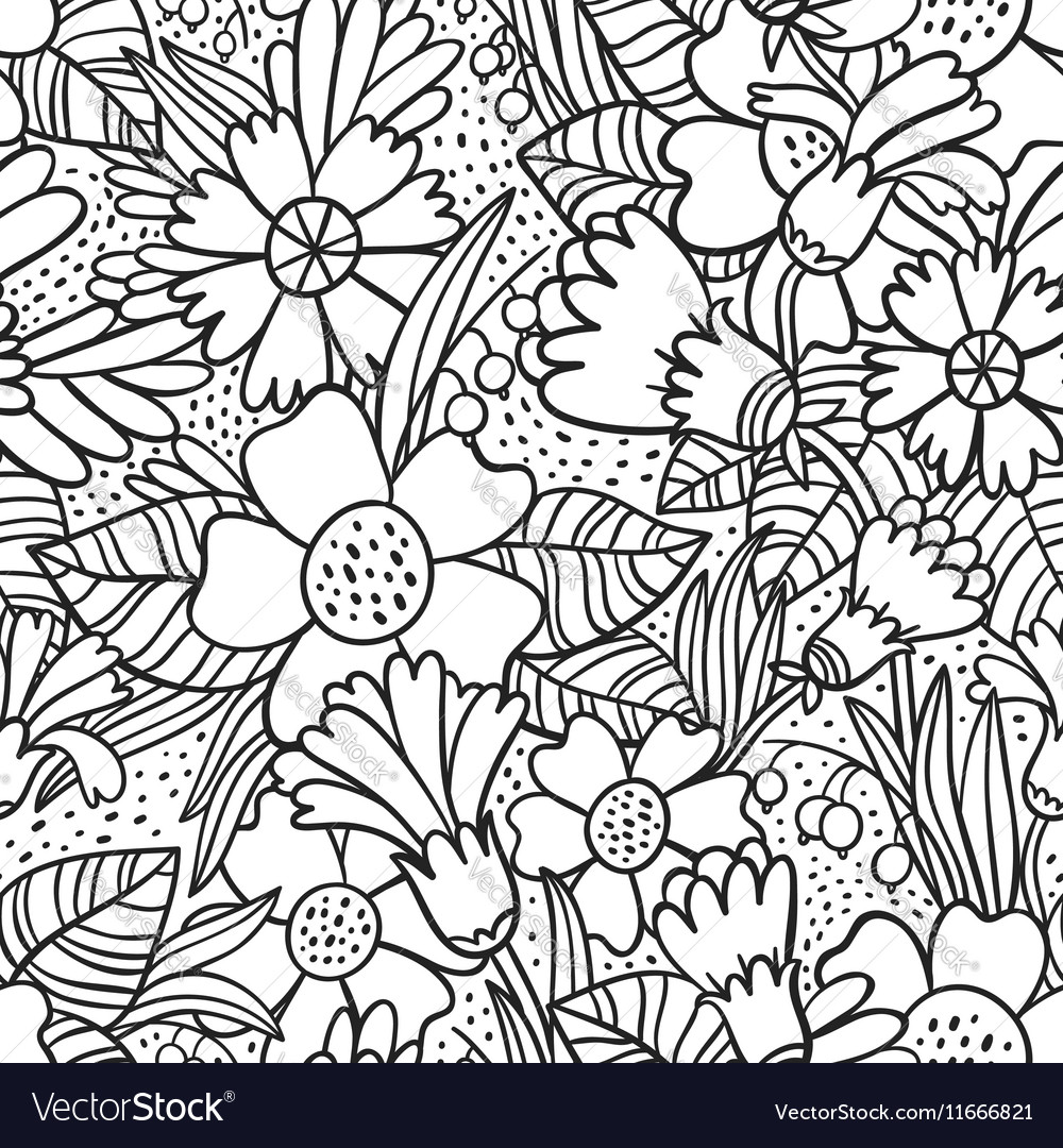 Black doodle flowers pattern
