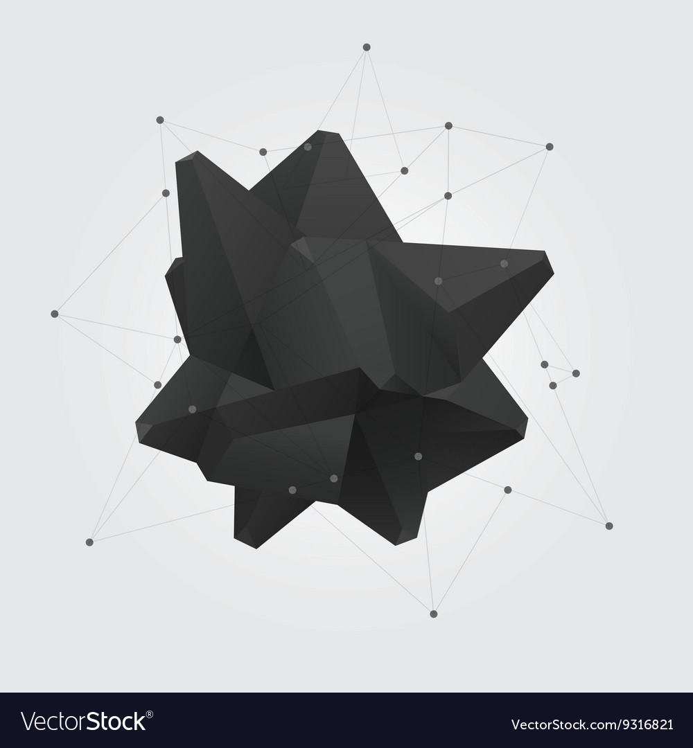 Black polygonal geometric abstract shape figure vector image