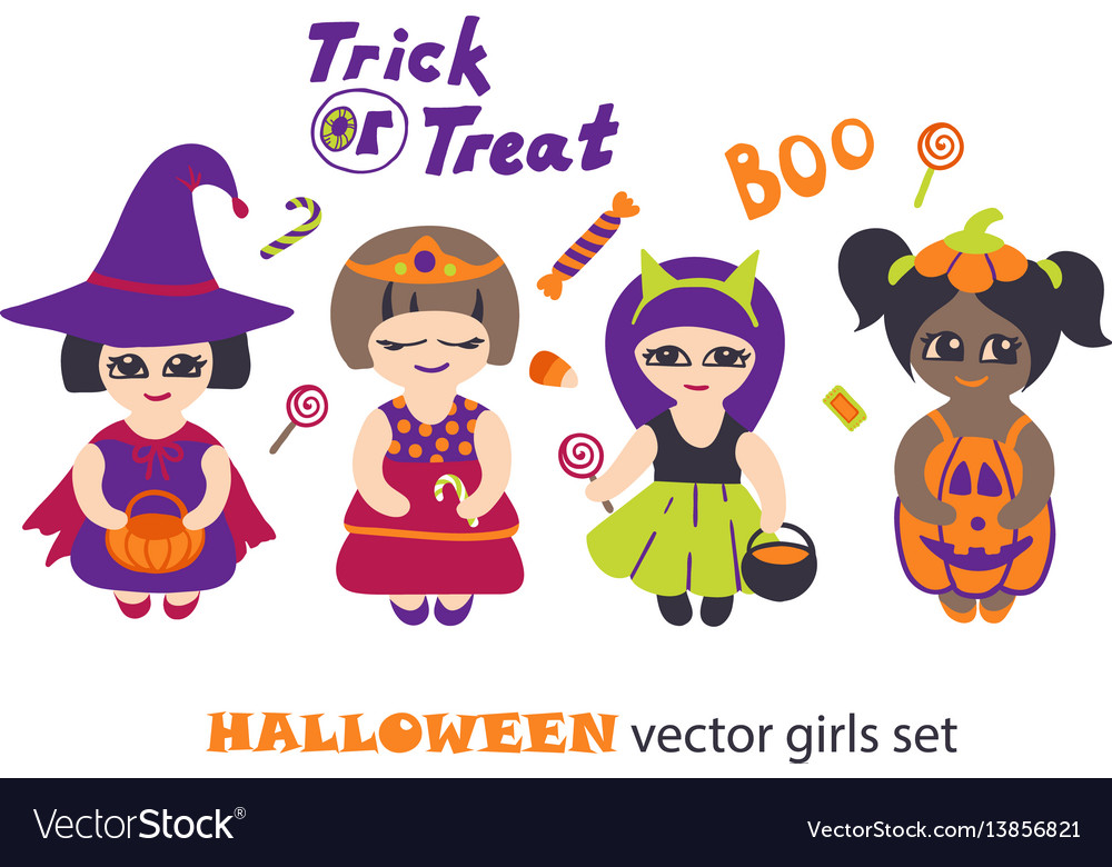 Halloween Clipart Set With Kids In Costumes