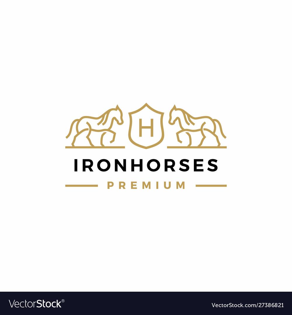 Horse coat arms logo icon