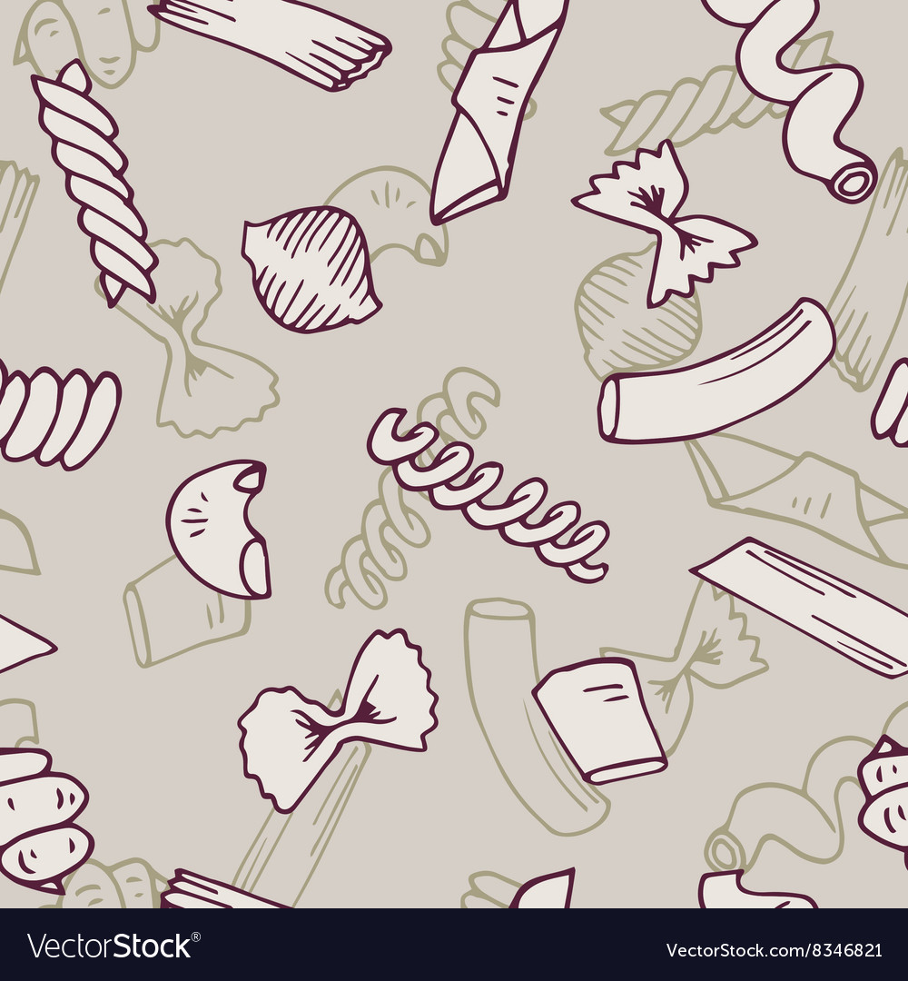 Italian Pasta seamless pattern collection vector image