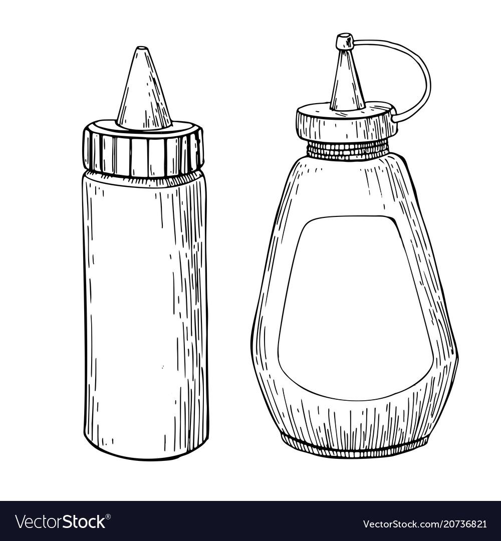 Ketchup mustard or mayonnaise sauce bottle
