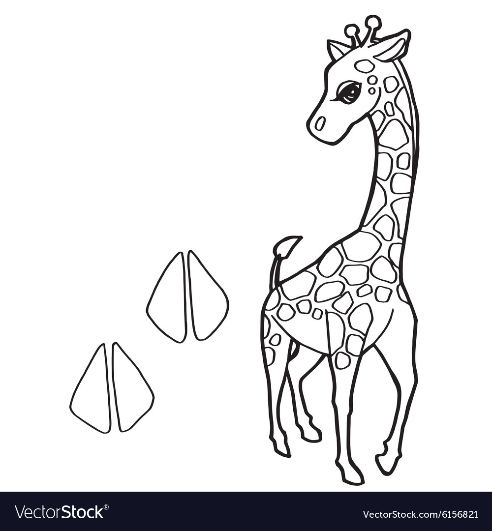 Paw print with giraffe Coloring Pages Royalty Free Vector