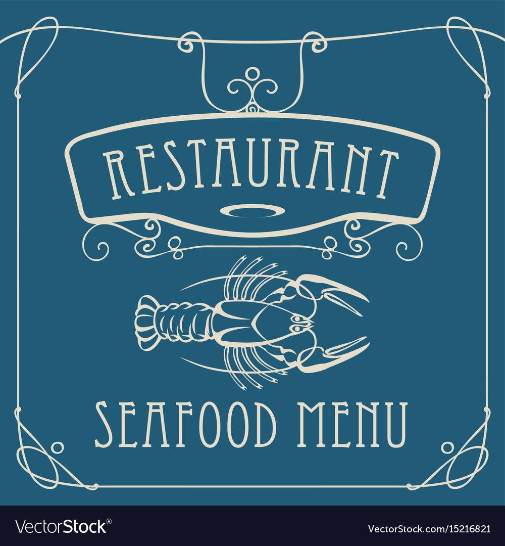 Seafood restaurant menu with crayfish