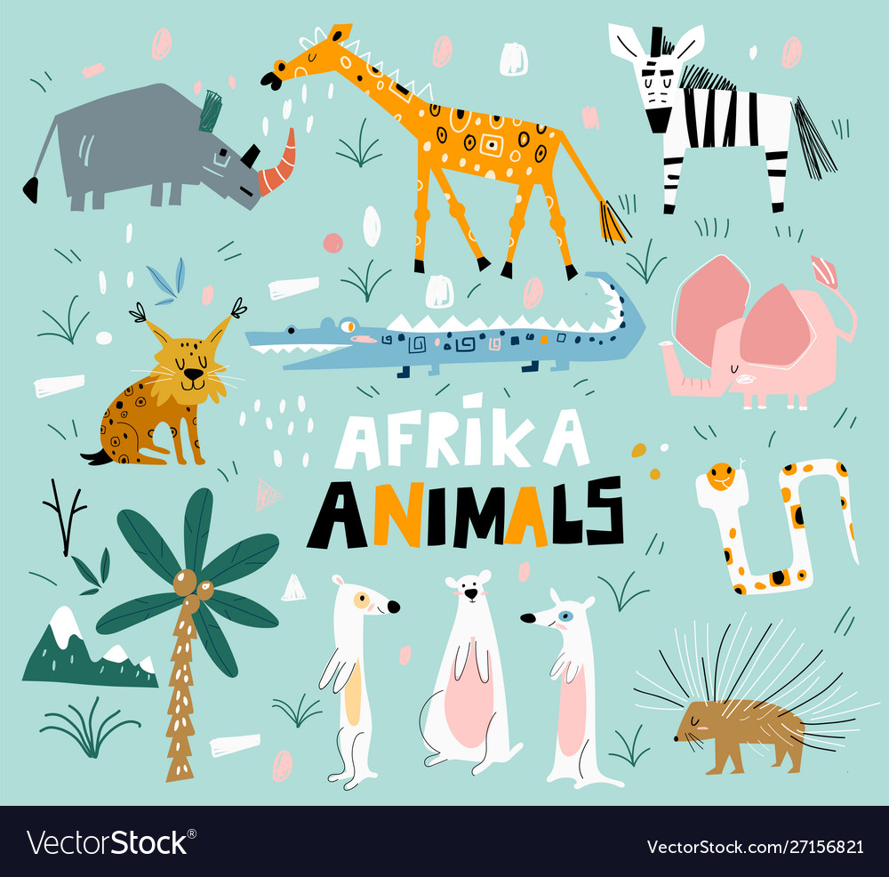 Set african animals in a flat style set