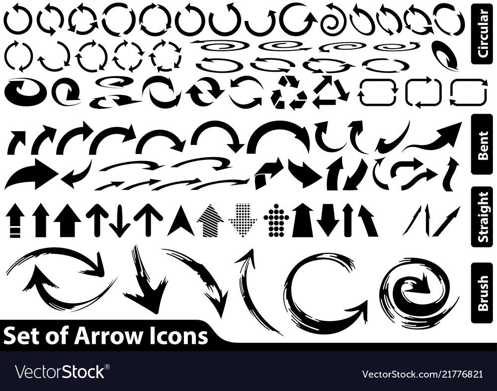 Set black arrow icons