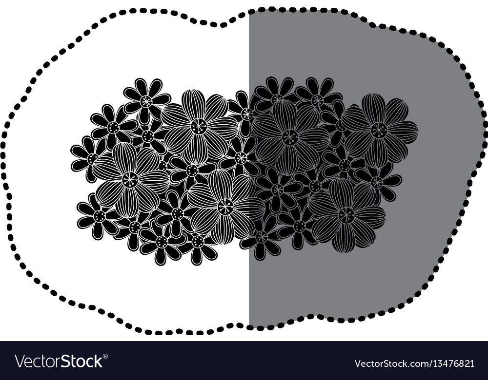 Sticker black pattern with white contour floral
