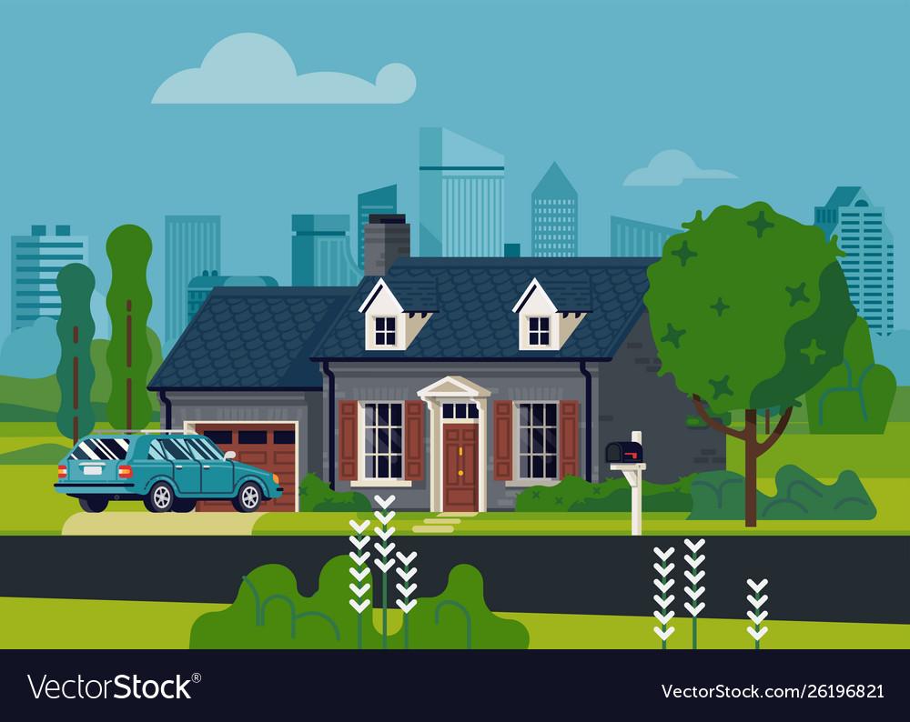 Suburban house scene