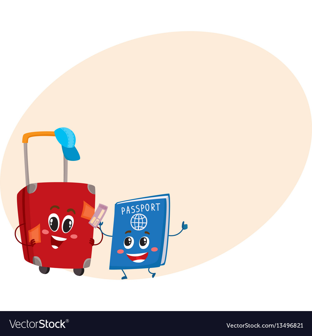 Suitcase and passport characters travelling
