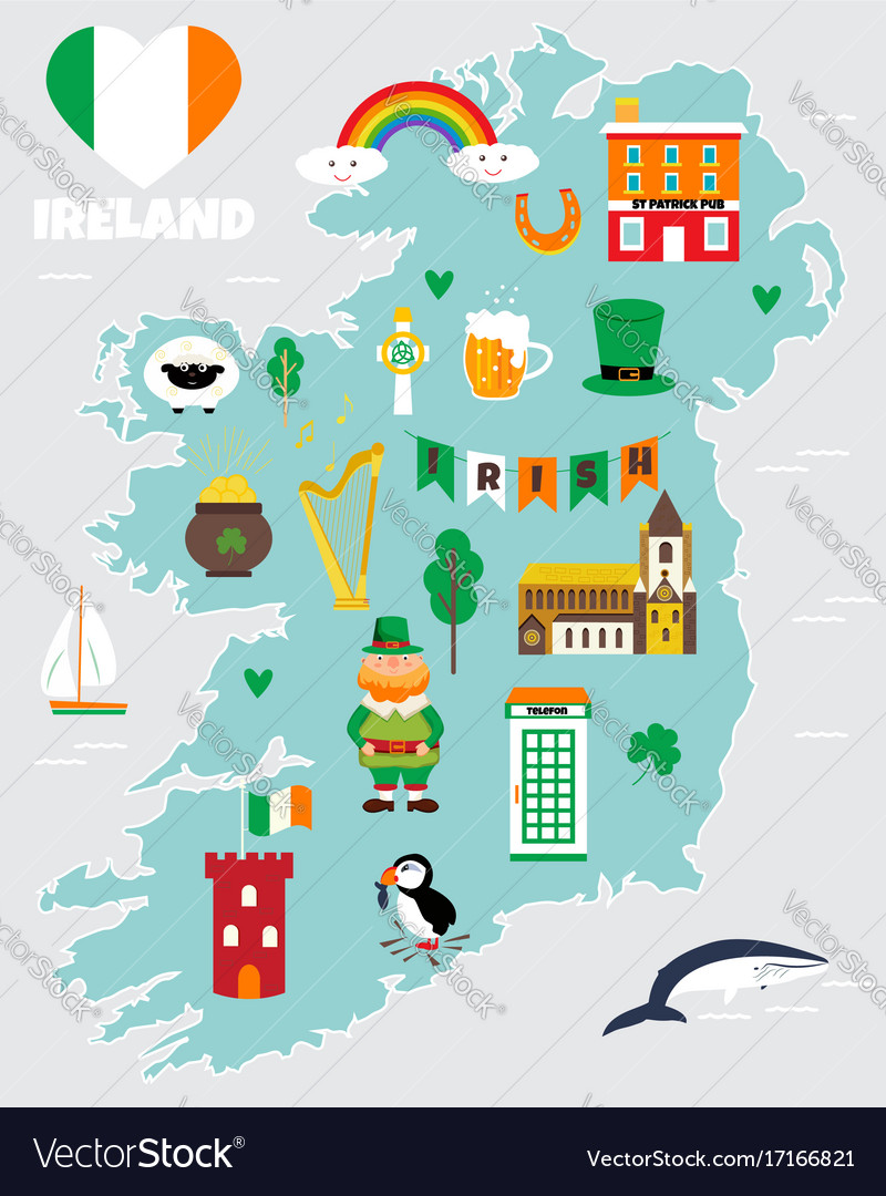Tourist Map Of Ireland With Landmarks And Symbols Vector Image