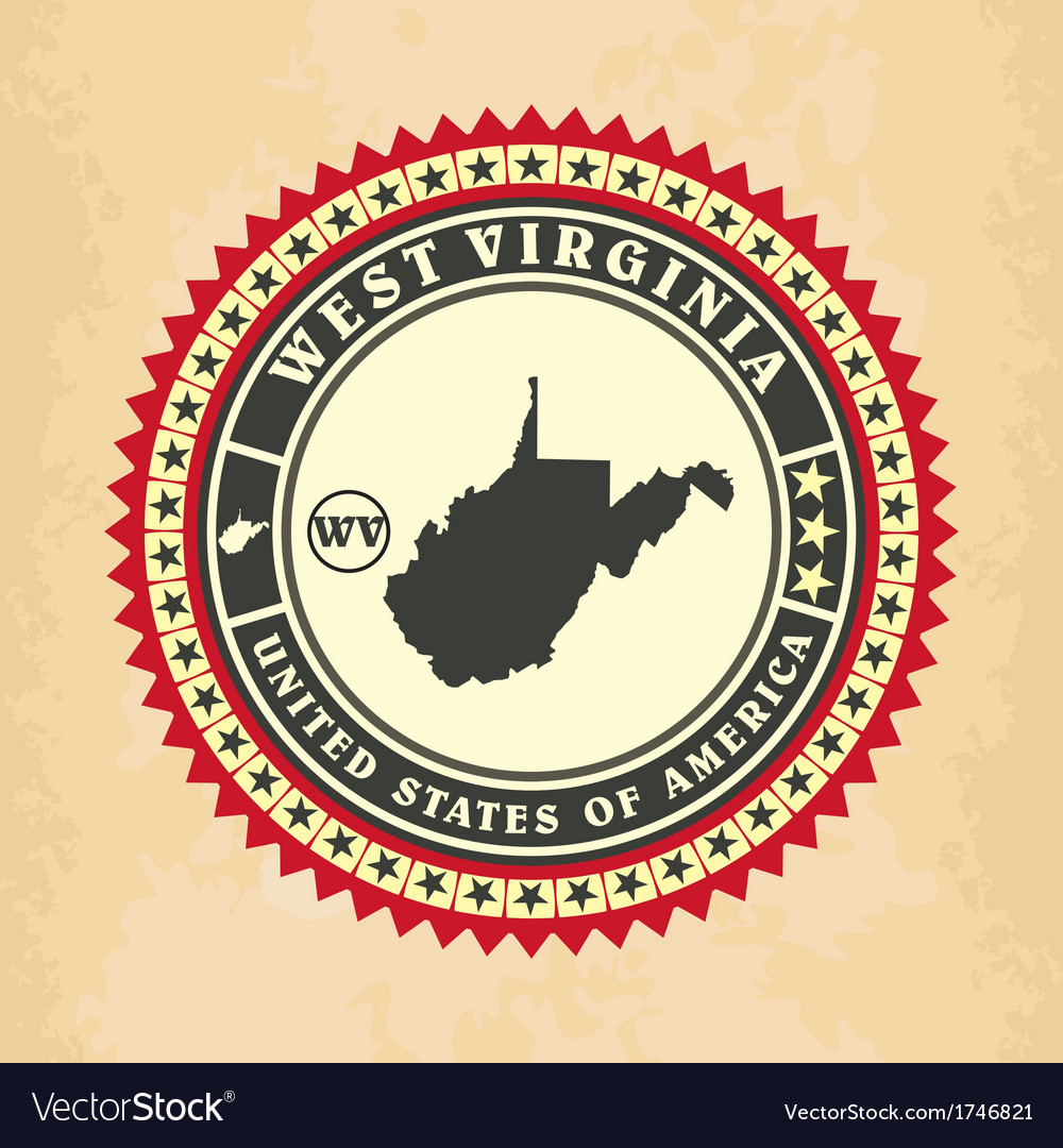 Vintage label-sticker cards of West Virginia vector image