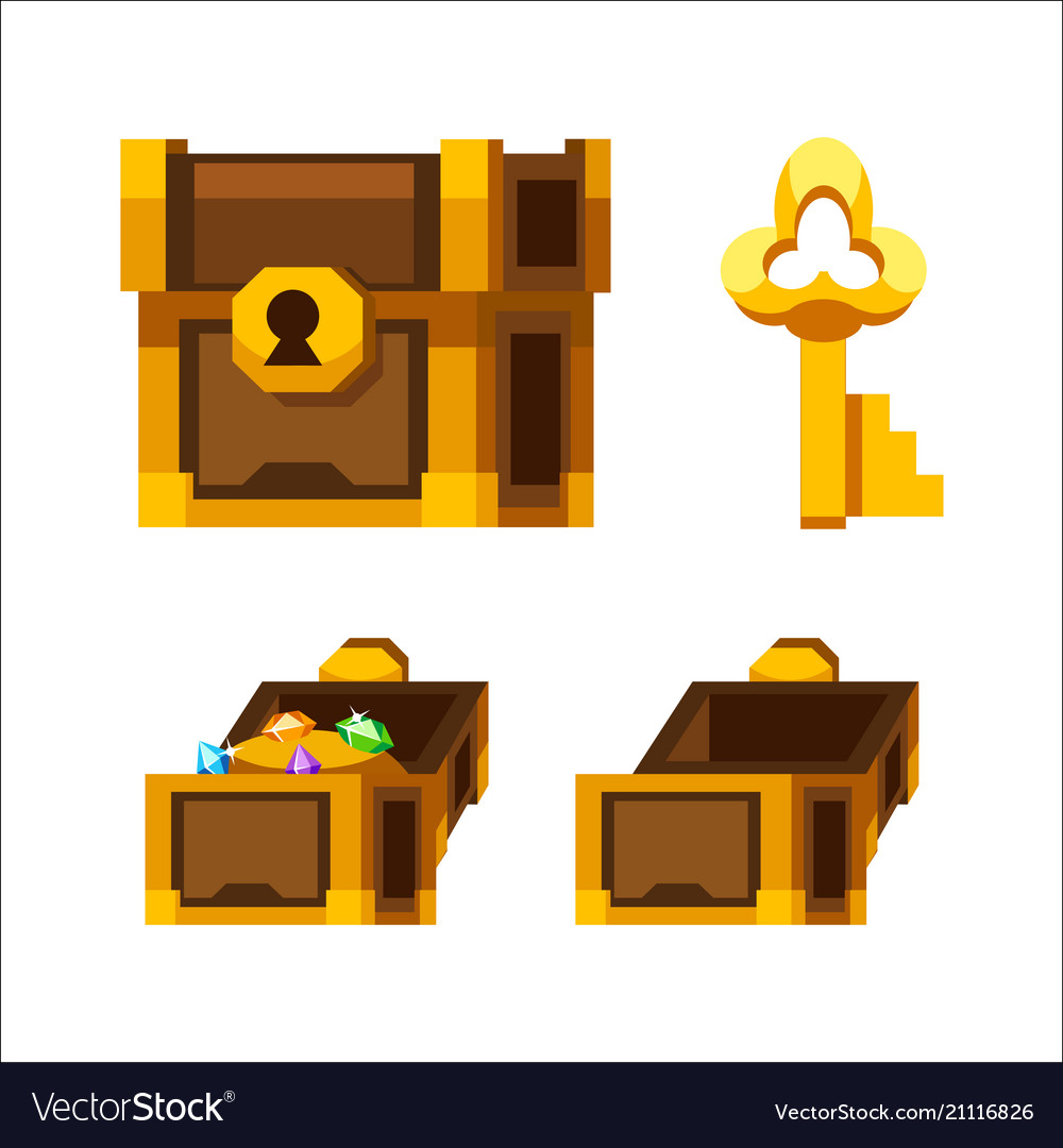 Cartoon wooden chest with gold and key