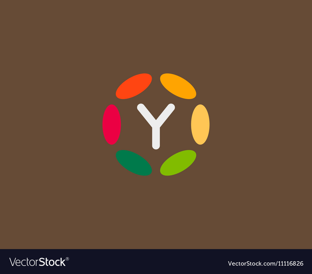 Color letter Y logo icon design Hub frame