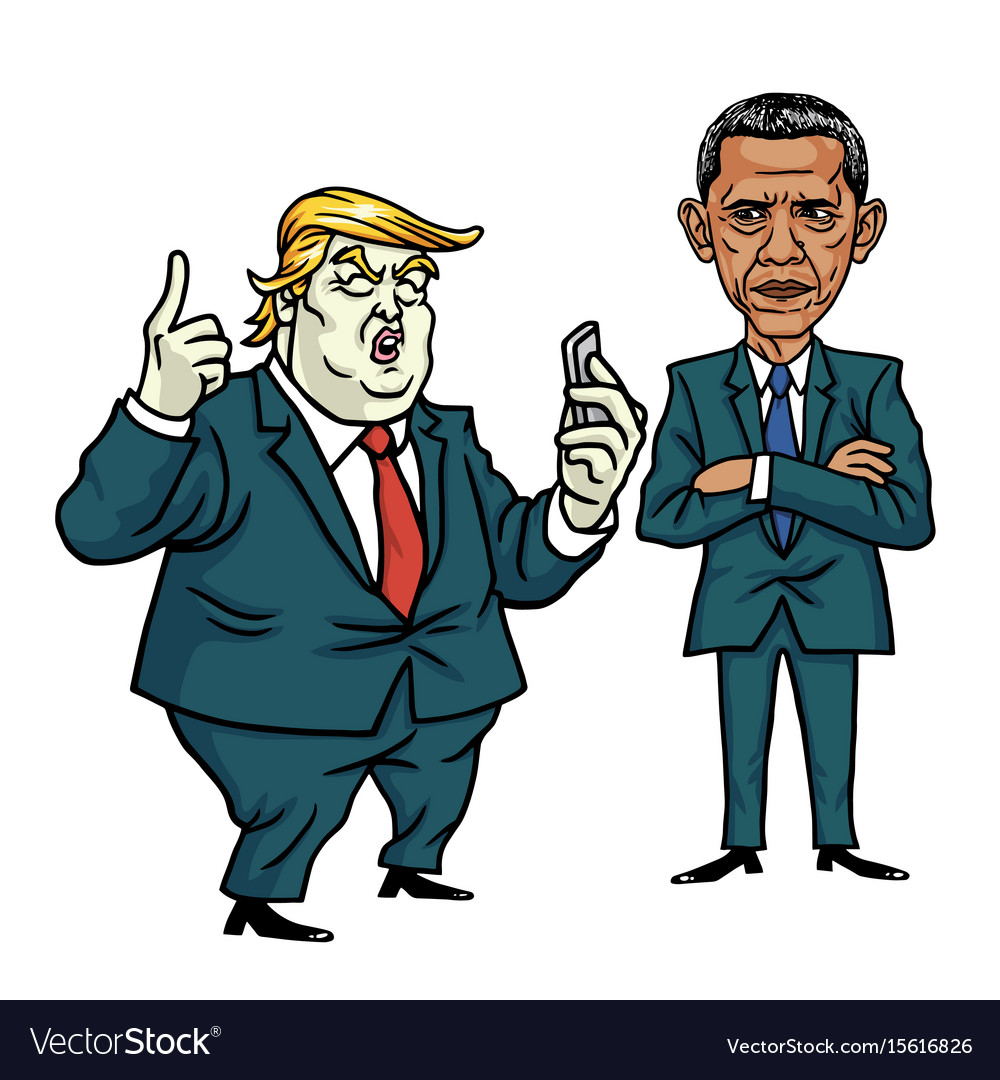 Image of: Clipart Donald Trump And Barack Obama Cartoon Vector Image Dreamstime Donald Trump And Barack Obama Cartoon Royalty Free Vector