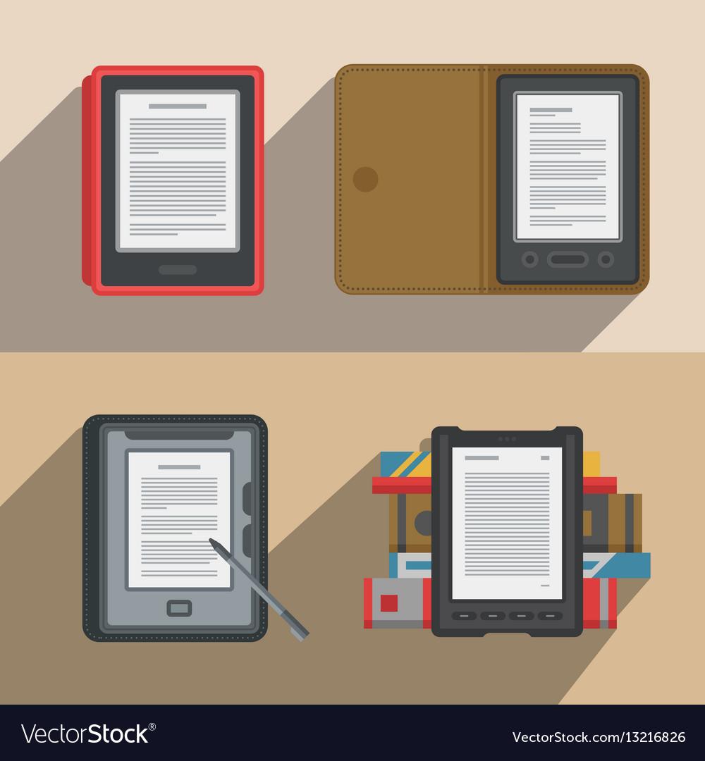 Electronic books icon set flat electronics vector image