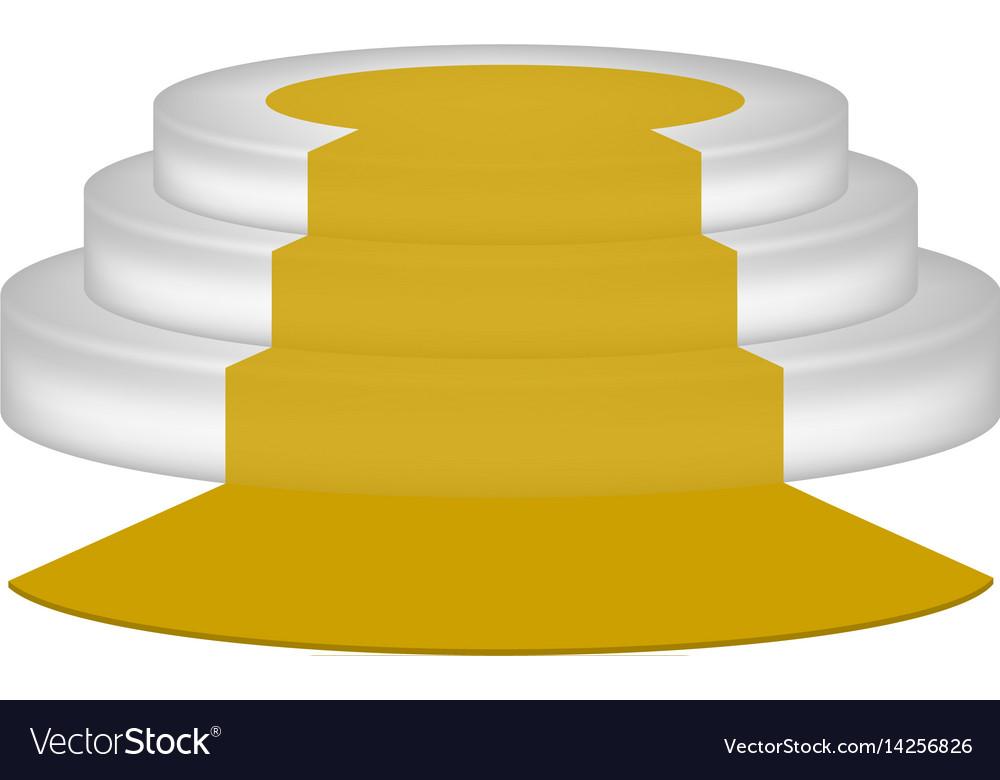 Empty podium with orange carpet vector image
