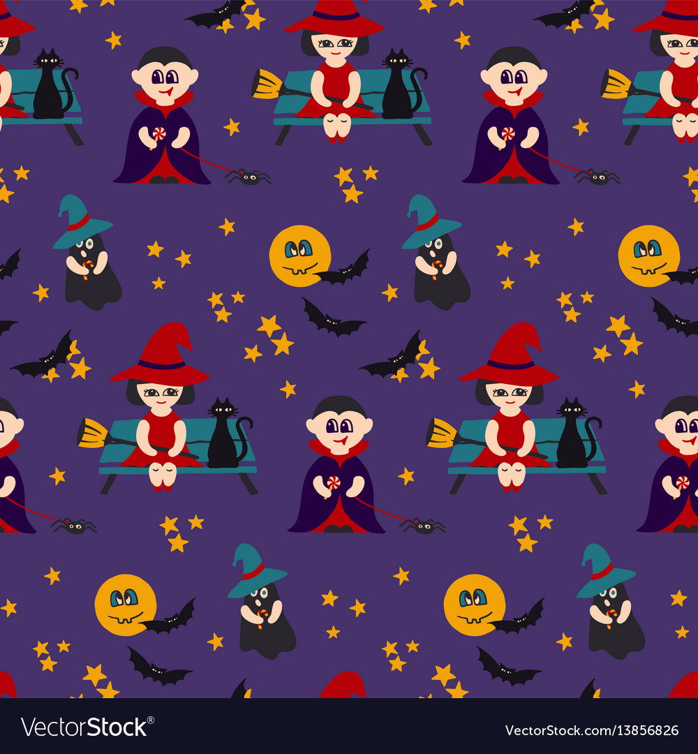 Halloween seamless pattern with kids in