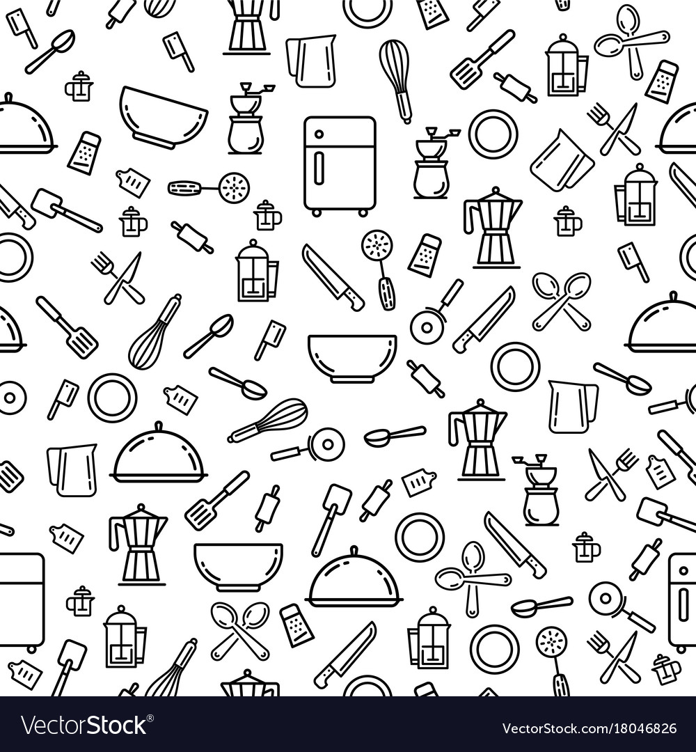Kitchen stuff pattern vector image