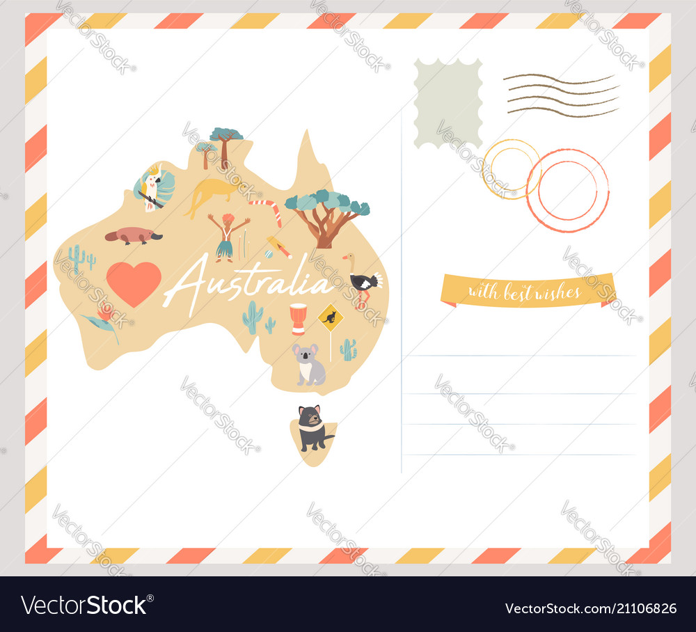 Australia Map Landmarks.Map Of Australia With Landmarks And Wildlife Vector Image On Vectorstock
