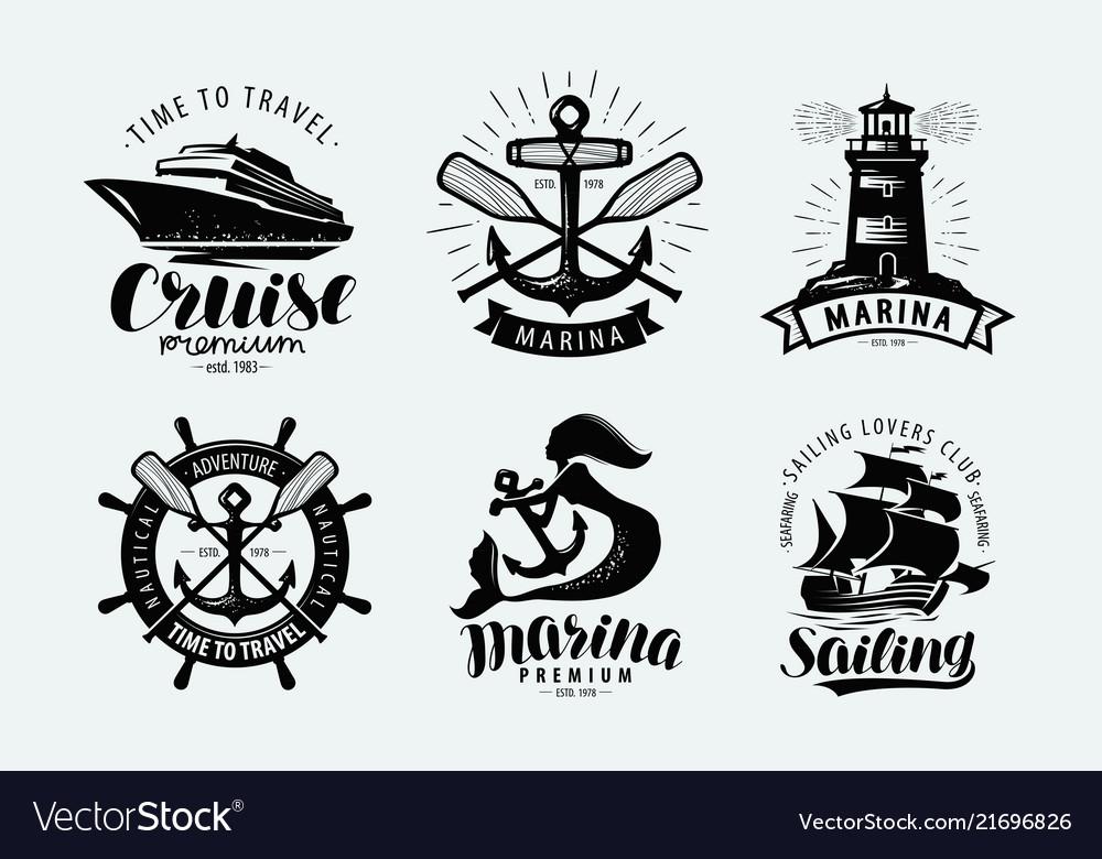 Marina sailing cruise logo or label marine