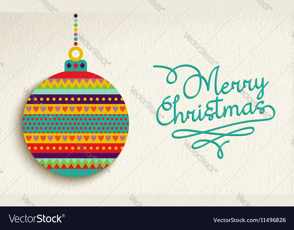 Merry christmas card design with colorful ornament