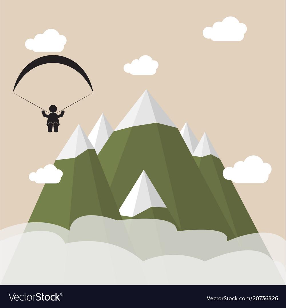Paragliding snow mountains