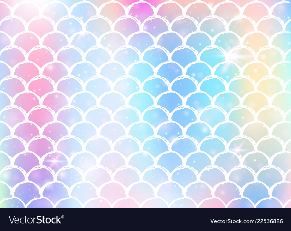 Rainbow scales background with kawaii mermaid