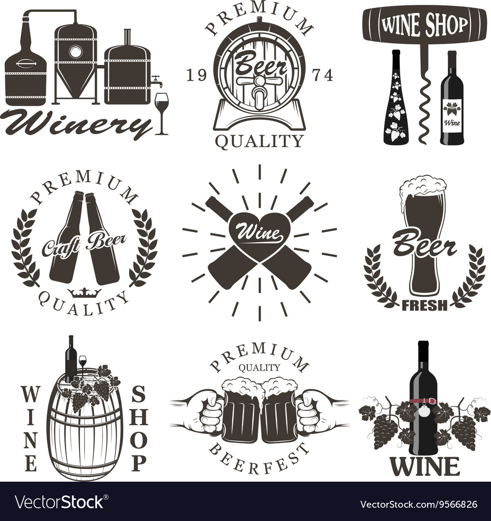 Set of wine and beer signs badges