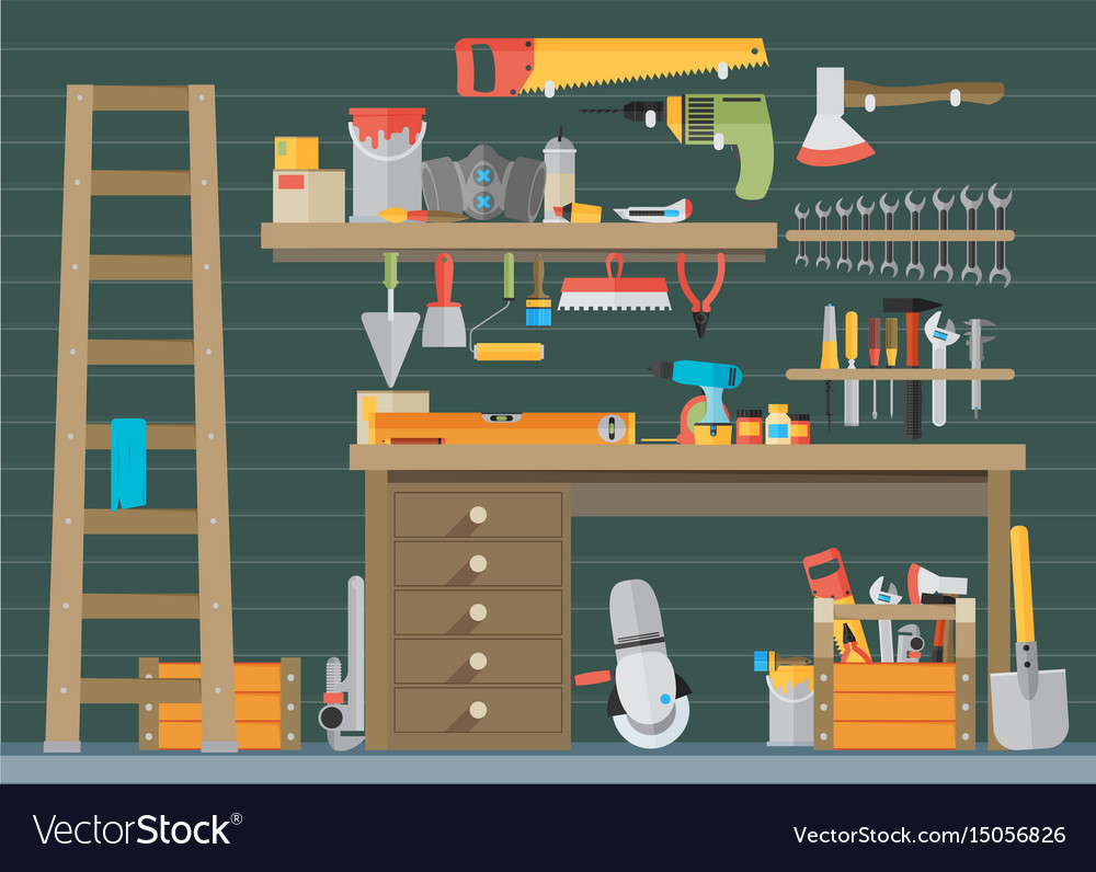 Workspace carpenter tools trendy flat icon on