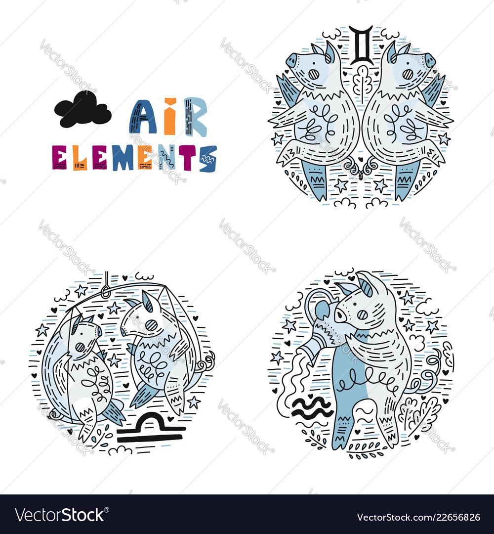Zodiac air elements set
