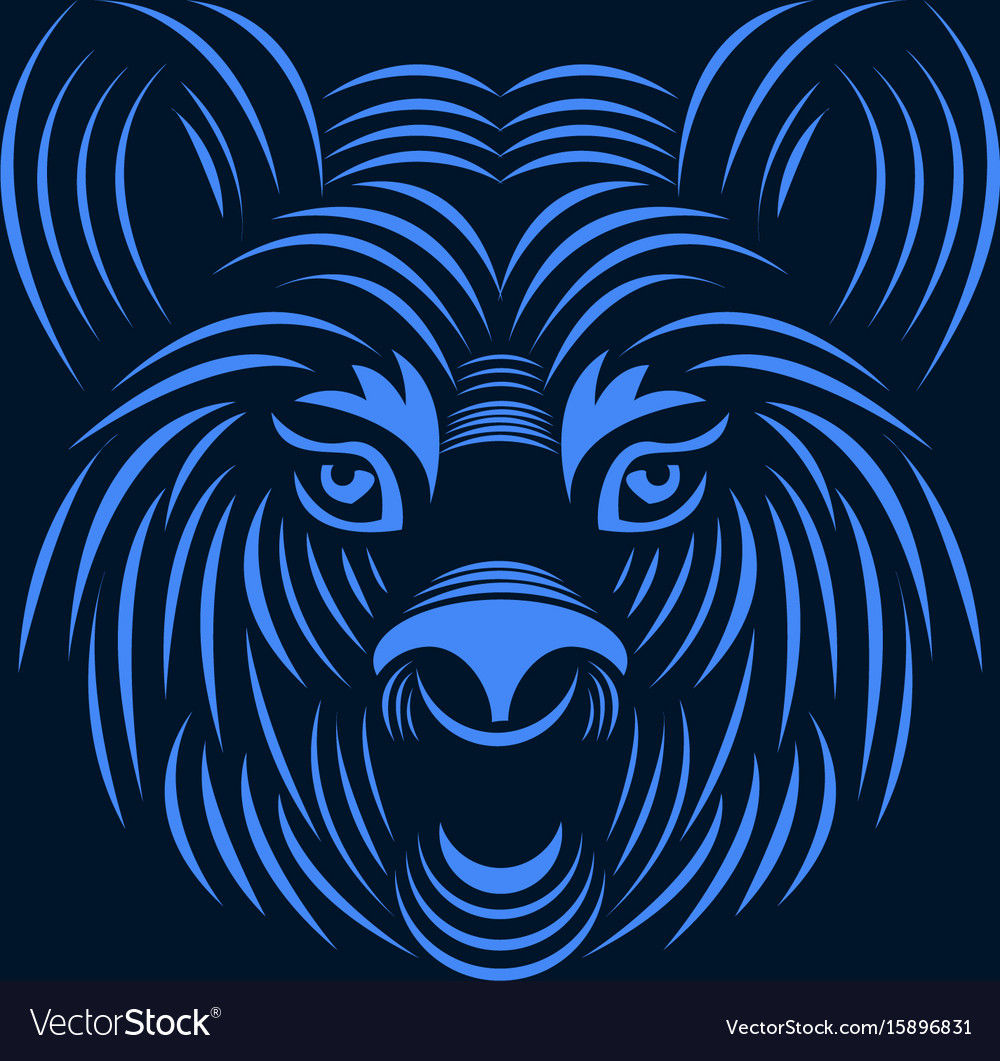 Aggressive tiger face line art style illus