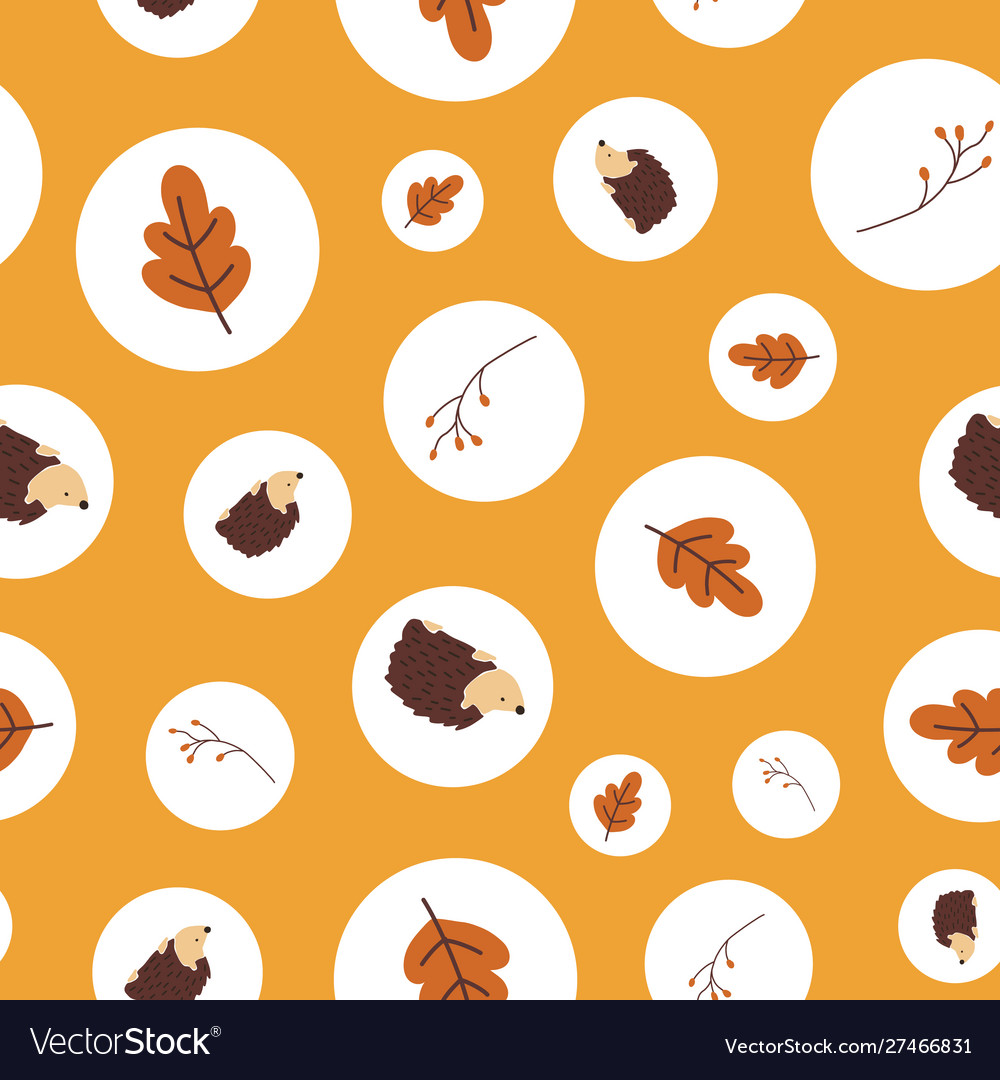 Autumn polka dot pattern with fall elements