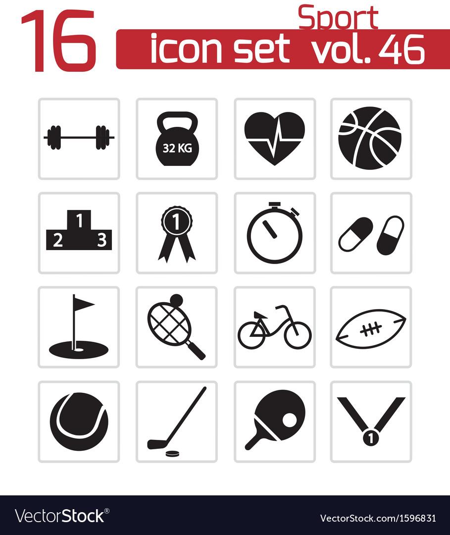 Black sport icons set