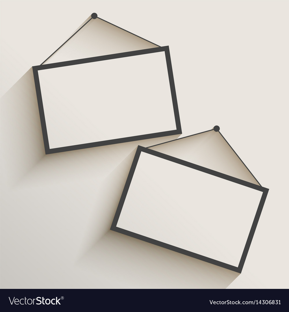 template for hanging pictures - blank photo frame hanging on wall royalty free vector image
