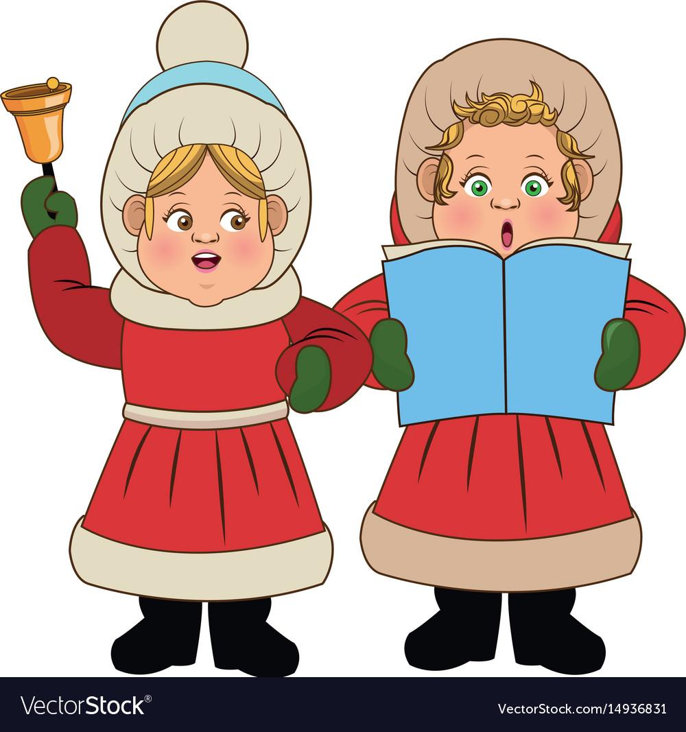Christmas Caroling Images.Cartoon Woman Christmas Caroling With Song Book