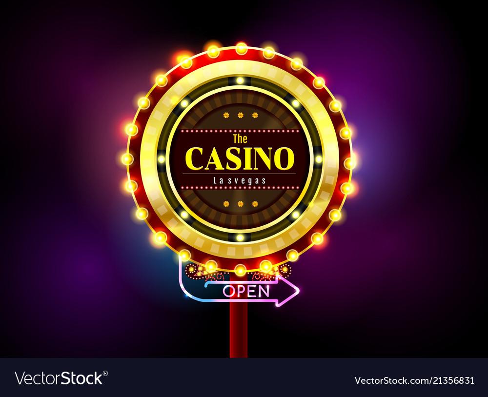 Casino sign neon light outdoor