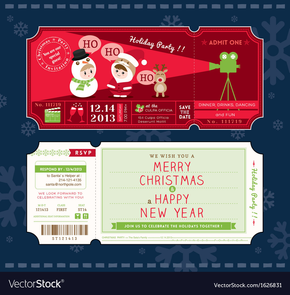 Christmas Party Cartoon Ticket Card Template